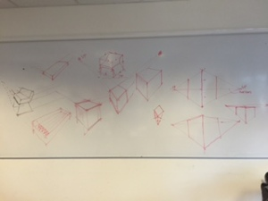The object being drawn: The bin. On the whiteboard we see diagrams of how our teacher wanted us to depict 'perspective'.