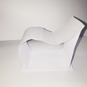 My sketch model in response to the image shown - made with paper.