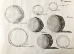 Basic sphere drawings - Practicing circular movements with our arms. I then added shading to add perspective which i will explain later.
