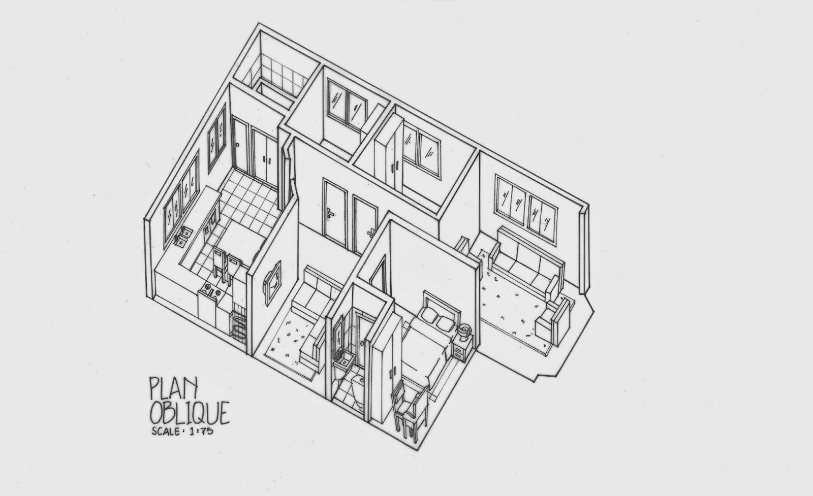 Plan oblique and isometric technical drawings for Architecture oblique